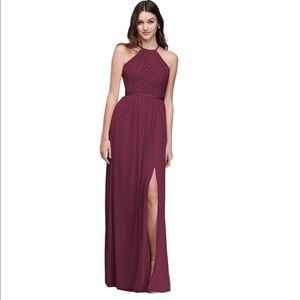 Lace halter bridesmaid dress